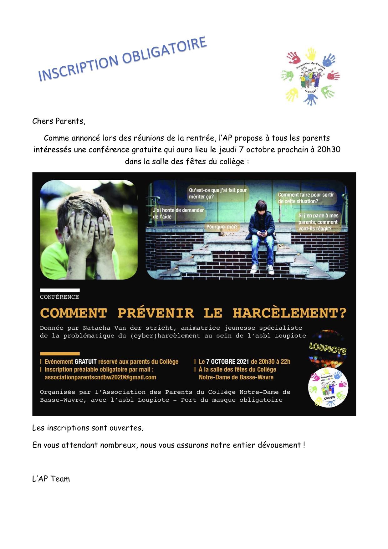 invitation conférence harcèlement